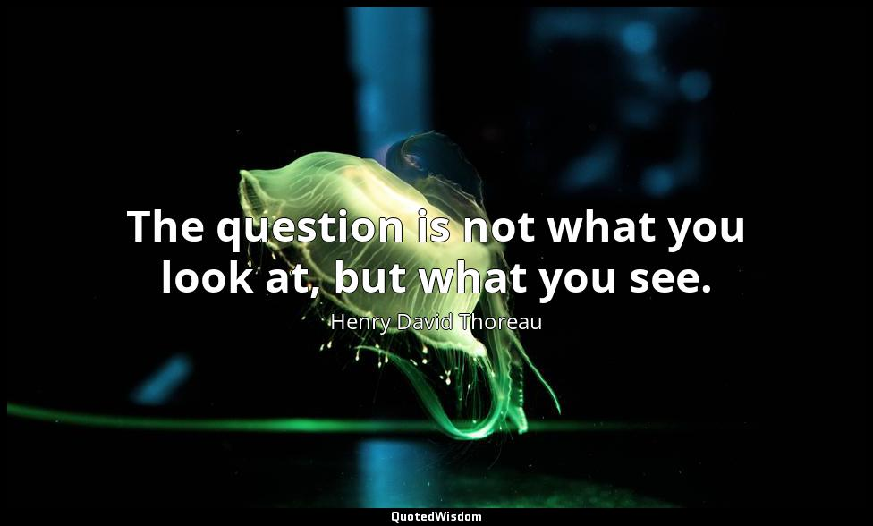 The question is not what you look at, but what you see. Henry David Thoreau