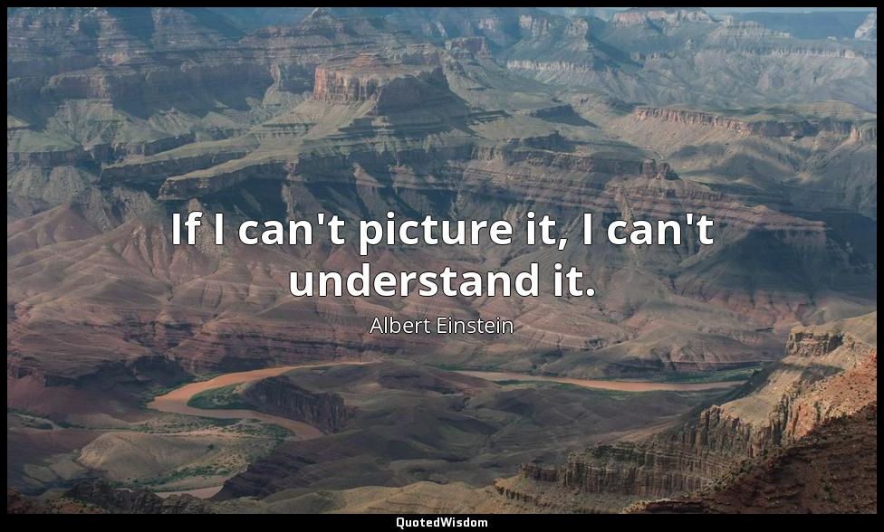 If I can't picture it, I can't understand it. Albert Einstein
