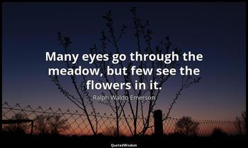 Many eyes go through the meadow, but few see the flowers in it. Ralph Waldo Emerson