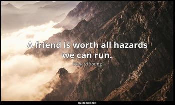 A friend is worth all hazards we can run. Edward Young