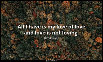 All I have is my love of love and love is not loving. David Bowie