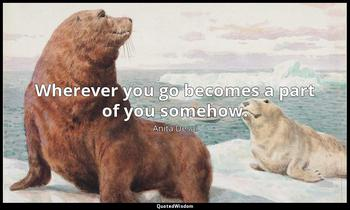 Wherever you go becomes a part of you somehow. Anita Desai