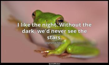 I like the night. Without the dark, we'd never see the stars. Stephenie Meyer