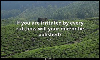 If you are irritated by every rub,how will your mirror be polished? Rumi