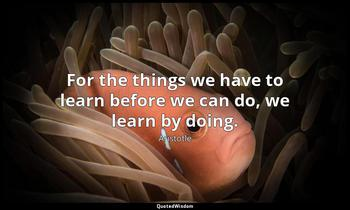 For the things we have to learn before we can do, we learn by doing. Aristotle