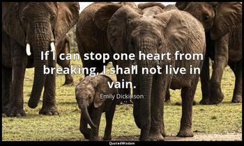 If I can stop one heart from breaking, I shall not live in vain. Emily Dickinson
