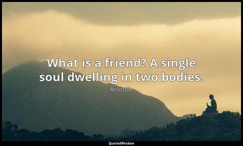 What is a friend? A single soul dwelling in two bodies. Aristotle