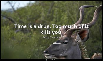 Time is a drug. Too much of it kills you. Terry Pratchett