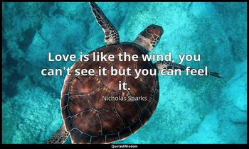 Love is like the wind, you can't see it but you can feel it. Nicholas Sparks