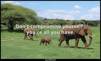 Don't compromise yourself - you're all you have. John Grisham