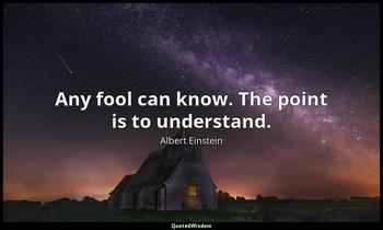 Any fool can know. The point is to understand. Albert Einstein