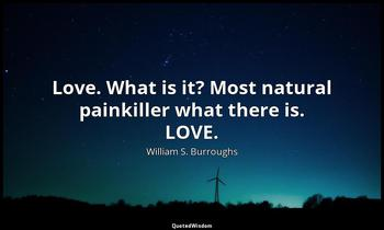 Love. What is it? Most natural painkiller what there is. LOVE. William S. Burroughs