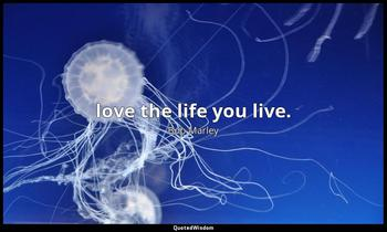 love the life you live. Bob Marley